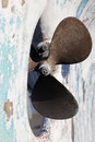 Rusty boat propeller in a dry dock Royalty Free Stock Images