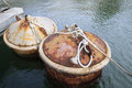 Rusty buoy two on water with ropes Stock Photo