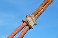 Rusty cable of bridge pylon Royalty Free Stock Images