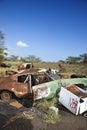 Rusty car in junkyard. Stock Images