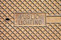 Rusty cast iron manhole covers for utility structures and public