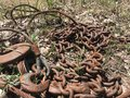 Rusty chain at abandoned quarry Stock Photo