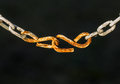 Rusty chain attached by a hook Royalty Free Stock Photo