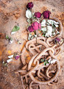 Rusty chain and withered roses Stock Photo
