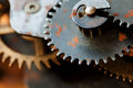 Rusty cogs gear mechanical transmission. industrial machinery vintage design wheels. Shallow depth field, selective Royalty Free Stock Photo