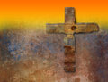 Rusty cross grunge background end yellow gradient Royalty Free Stock Images