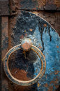 Rusty Door Handle With Cobwebs Royalty Free Stock Photo