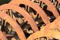 Rusty farm harrow in close up Stock Image