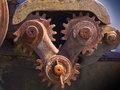Rusty gears large cog that could be a metaphor for lack of cooperation between congress or countries Stock Photography