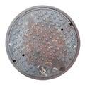 Rusty, grunge manhole cover isolated Royalty Free Stock Photo