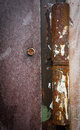 Rusty hinge closeup of a on a door Royalty Free Stock Photography