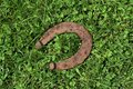 Rusty horseshoe in the green grass Royalty Free Stock Photo
