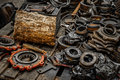 Rusty industrial machine parts in a building closeup photo Royalty Free Stock Images