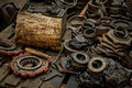 Rusty industrial machine parts closeup photo Stock Photos