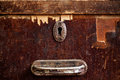 Rusty keyhole and handle closeup shot Royalty Free Stock Photo