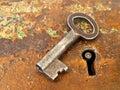 Rusty keyhole with key Royalty Free Stock Photo