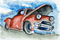 Rusty limousine on junkyard auto garbage dump concept watercolor handmade painted illustration Royalty Free Stock Photos