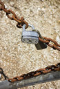 Rusty lock chain two locks on a Royalty Free Stock Image