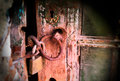 Rusty lock and keyhole Royalty Free Stock Photo