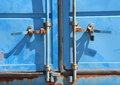 Rusty Lock Mechanism on Blue Container Closeup Royalty Free Stock Photo