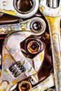 Rusty mechanic tools with grease stains Royalty Free Stock Image