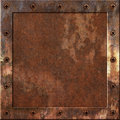 Rusty metal background an old with a border of screws Royalty Free Stock Image