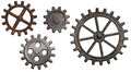 Rusty metal gears and cogs set isolated on white Royalty Free Stock Images