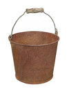 Rusty metal pail isolated old with handle on white Royalty Free Stock Image