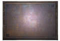 Rusty metal plate on wooden frame Royalty Free Stock Photo
