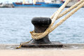 Rusty mooring on a pier in canary islands spain Stock Images