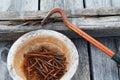 Rusty nails and nail puller Royalty Free Stock Photo