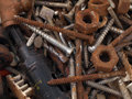 Rusty nuts and bolts. Stock Photo