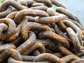 Rusty old chain ropes - the big rusty chains. Royalty Free Stock Photo