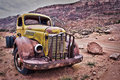 Rusty old truck abandoned in the desert Royalty Free Stock Photo