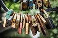 Rusty padlocks on iron railing. Royalty Free Stock Photo
