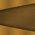 Rusty perforated Metal Background with plate and rivets. Metallic grunge texture. Brass, copper latticed template. Royalty Free Stock Photo