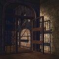 Rusty prison door