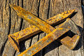 Rusty railroad spikes laying on ground in a pile Royalty Free Stock Photo