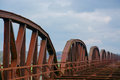 Rusty railway bridge in germany near the river elbe Stock Images