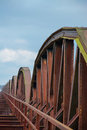 Rusty railway bridge in germany near the river elbe Royalty Free Stock Photography