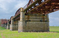 Rusty railway bridge in germany near the river elbe Royalty Free Stock Photos