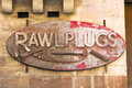 Rusty rawl plugs sign Stock Fotografie