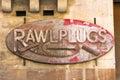 Rusty rawl plugs sign Fotografía de archivo