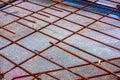 Rusty rebar prepared for concrete pouring