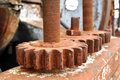 Rusty spur wheel industrial background Royalty Free Stock Photo