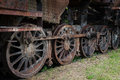 Rusty steam locomotive wheels old Stock Photography