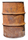 Rusty steel barrel without bottom for burning of garbage and bra Royalty Free Stock Photo
