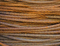 Rusty steel cable closeup Stock Images