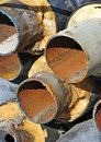 Rusty steel pipe with heat insulation on construction site Stock Photography
