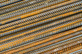 Rusty steel rods ribbed construction rebar background Royalty Free Stock Image